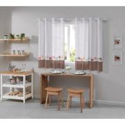 Cortina Cozinha Allegra Donuts 260x140cm Branco - Bella Janela