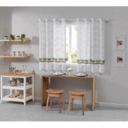 Cortina Cozinha Allegra Ervas 260x140cm Branco - Bella Janela