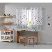 Cortina Cozinha Allegra Pássaros 260x140cm Branco - Bella Janela