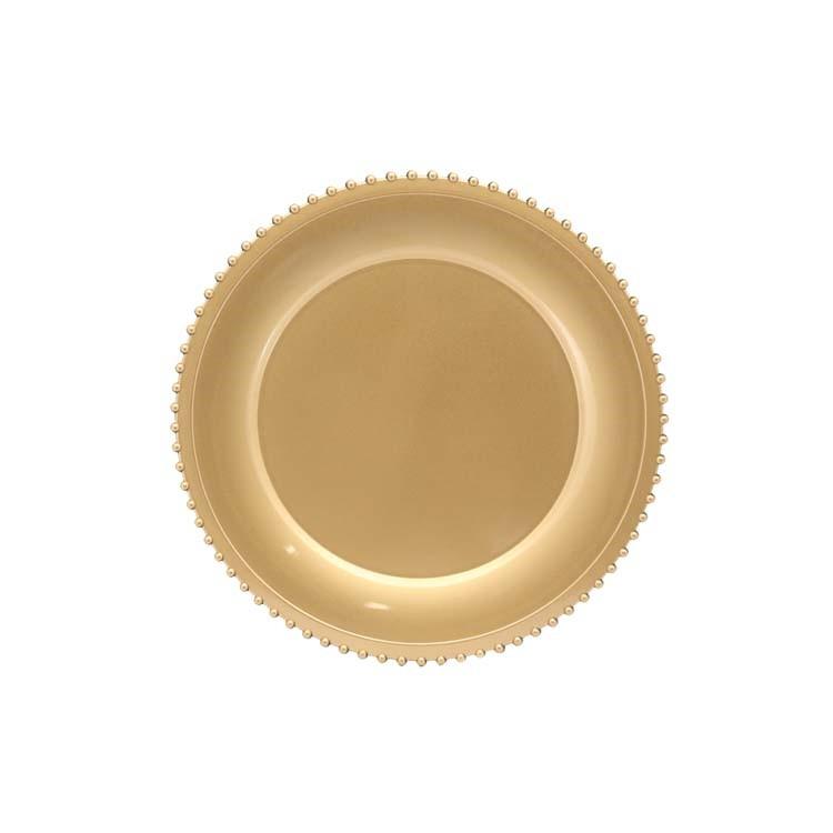 Sousplat Redondo com Borda Decorada Dourado - Magizi