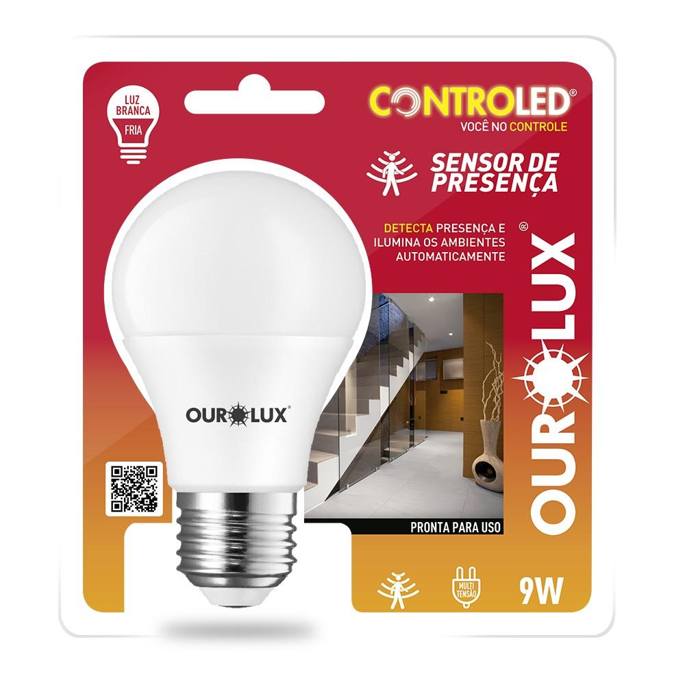 Lampada LED Sensor de Presenca 9W E27 Luz Branca - Ourolux