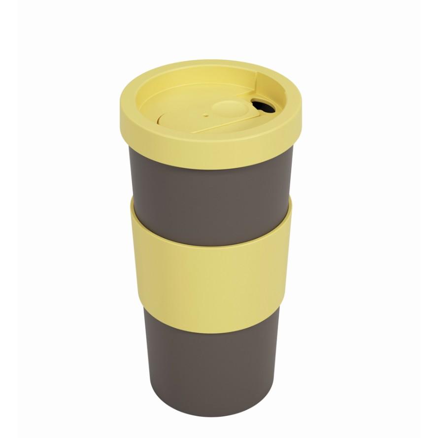 Copo Plastico com Tampa 500ml Amarelo e Cinza - Coza
