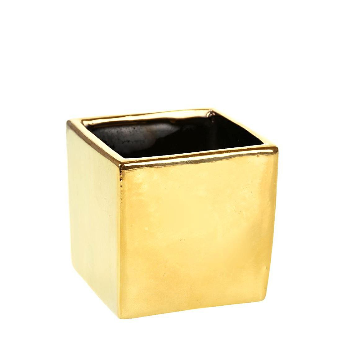 Vaso Decorativo de Ceramica Quadrado 10 cm Dourado - GPresentes