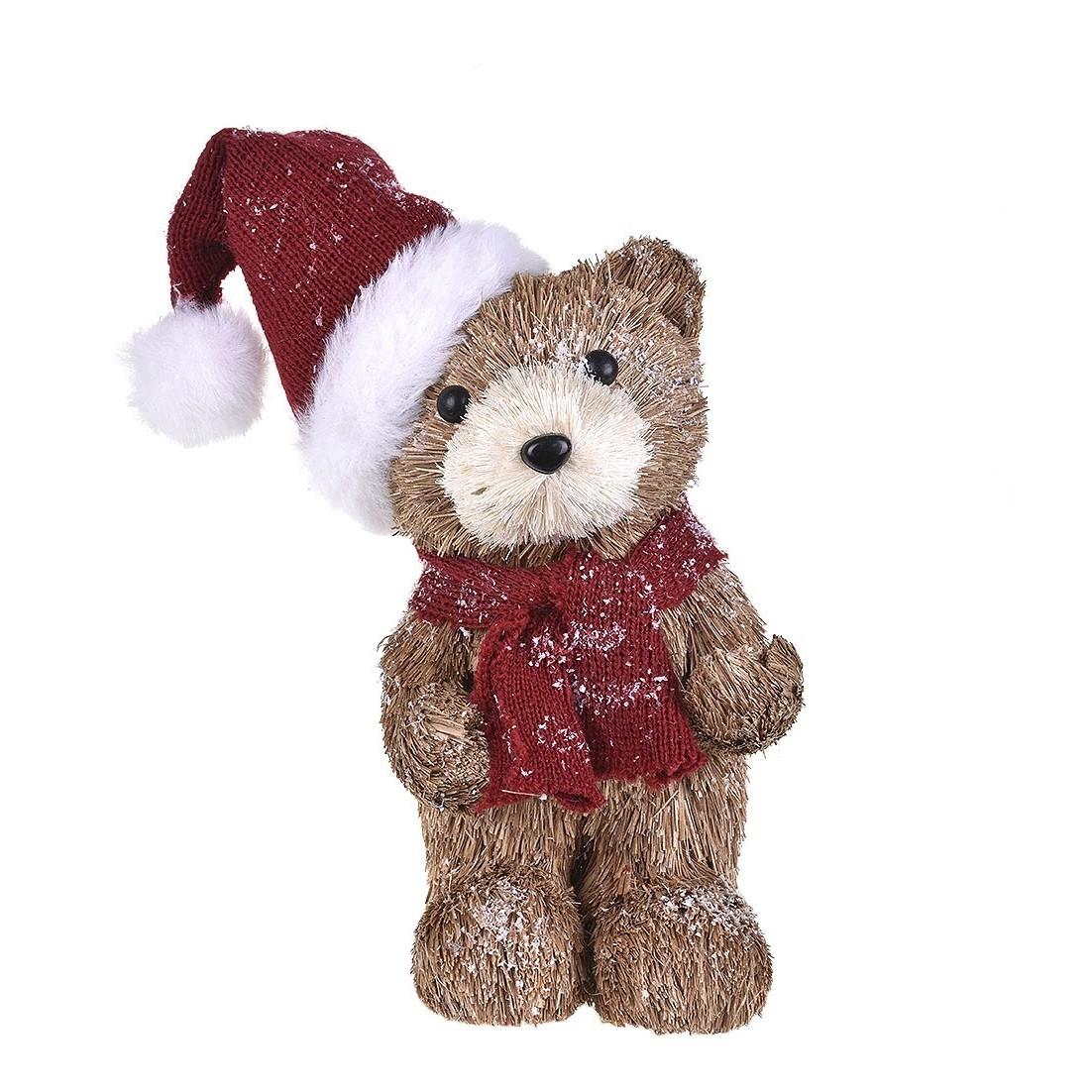 Enfeite de Natal Boneco Urso com Gorro
