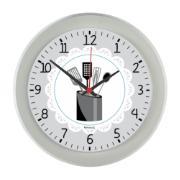 Relógio de Parede Disco Talheres 24cm Cinza - Relobraz
