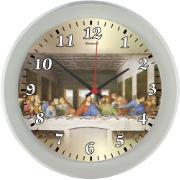 Relógio de Parede Kairos Santa Ceia 24cm Cinza - Relobraz