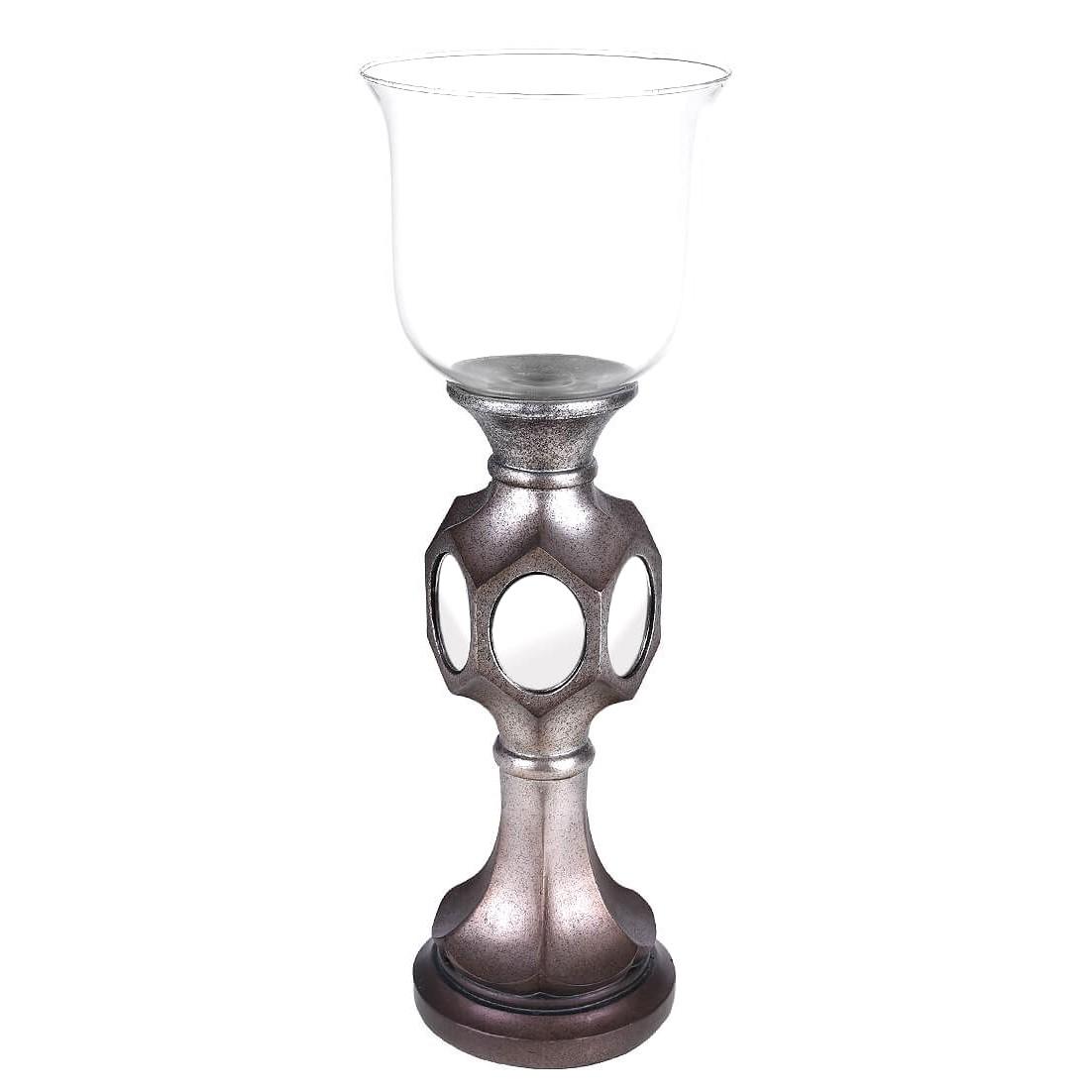 Castical Decorativo Resina Espelho e Vidro 43cm Chumbo