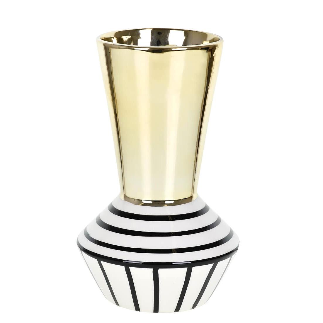Vaso Decorativo Ceramica Asteca 21cm Dourado