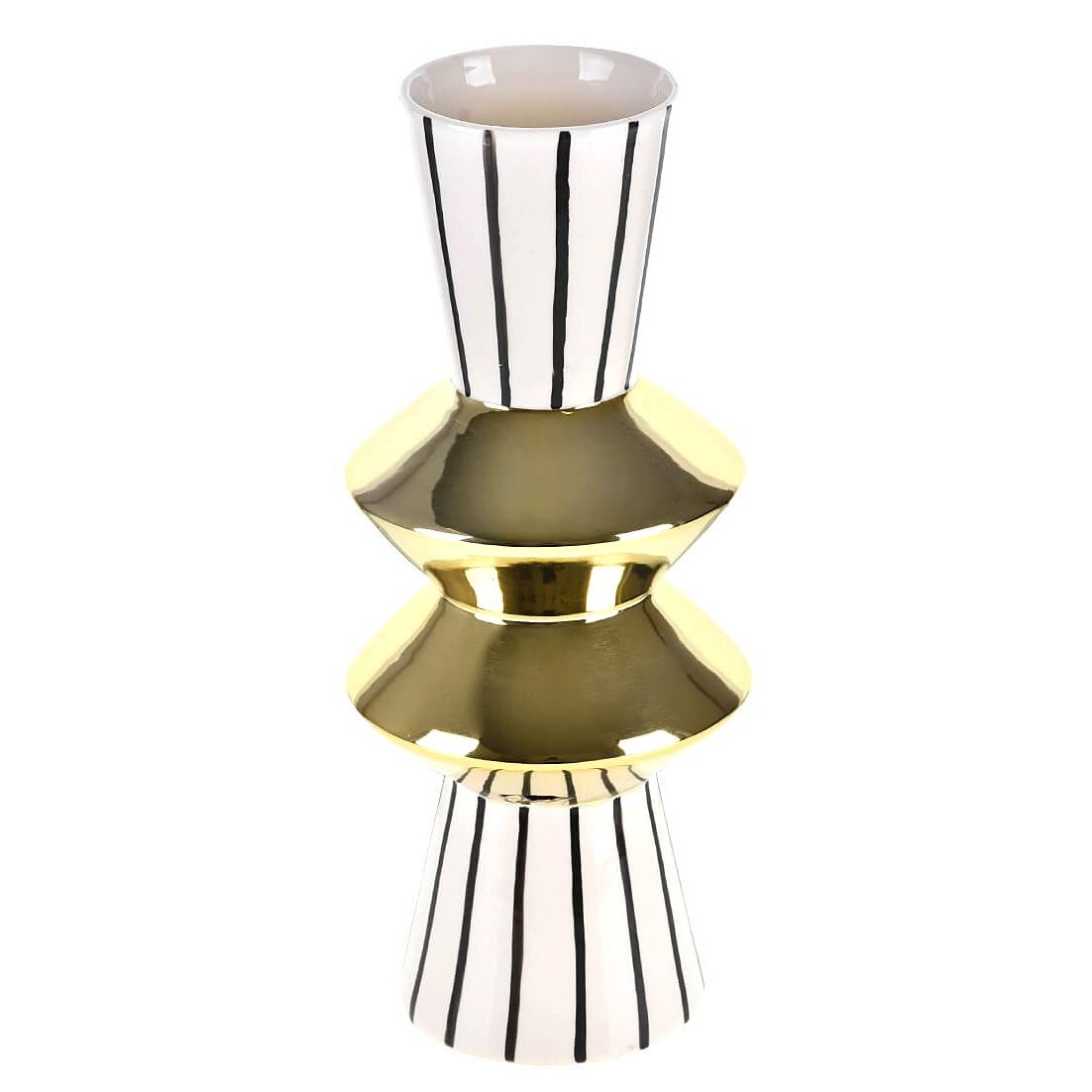 Vaso Decorativo Ceramica Asteca 30cm Prata