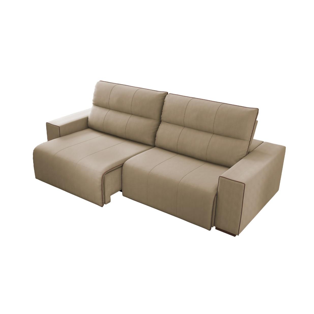 Sofa 2 Lugares Leblon Retratil Reclinavel Veludo 252cm Castor - Spazzio