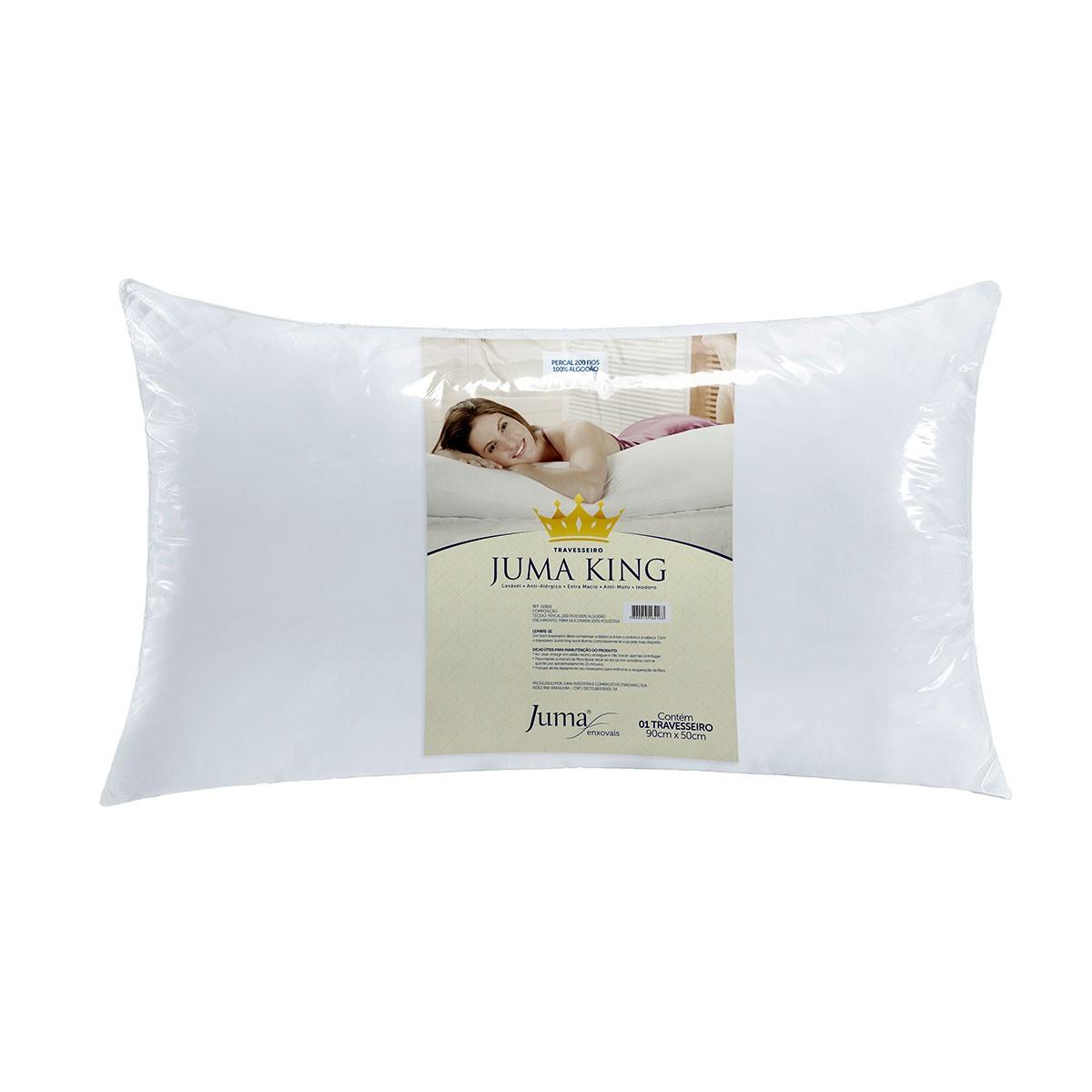 Travesseiro King Juma 90 x 50 cm Percal 200 Fios - Branco
