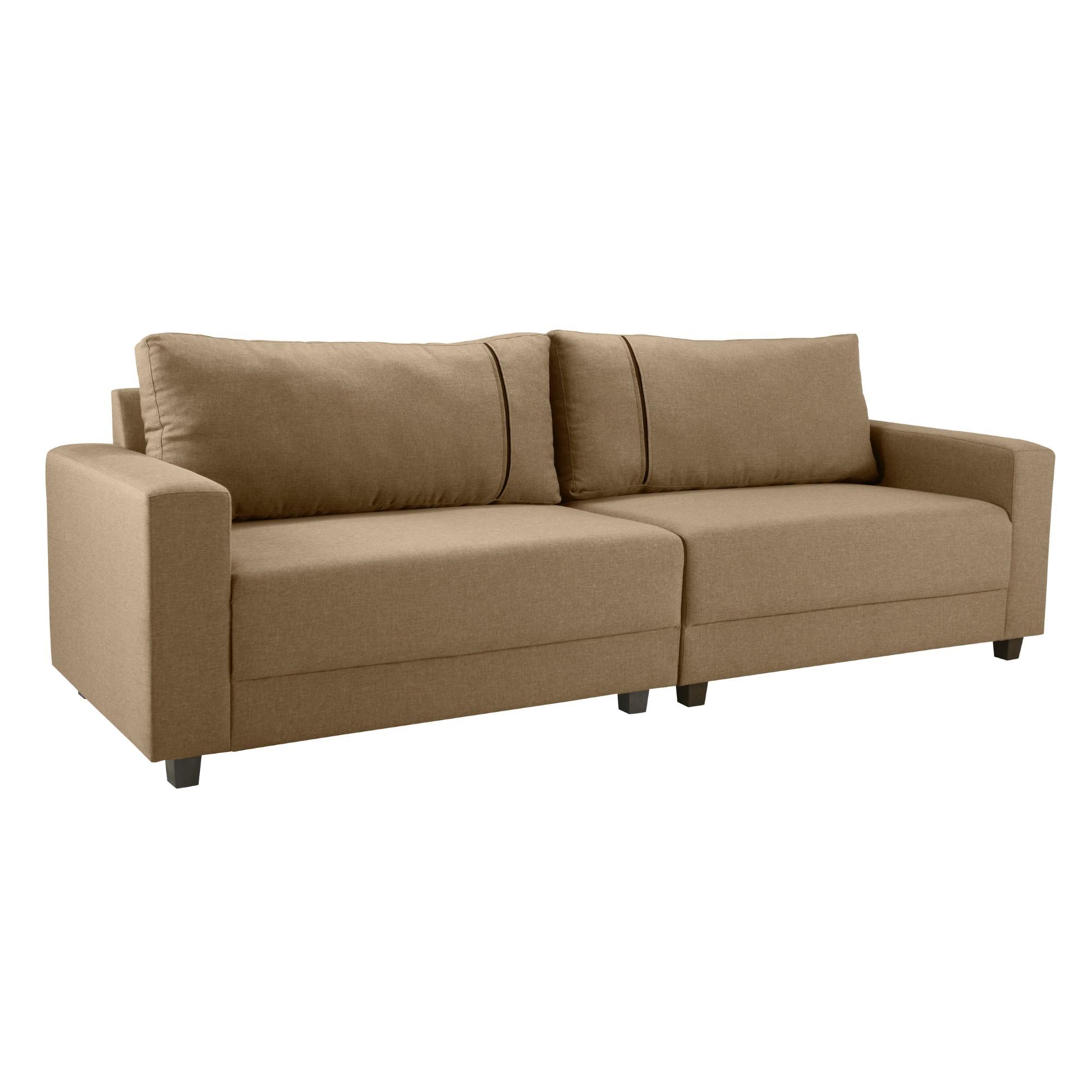 Sofa 4 Lugares Herval Compose Suede Marrom Claro