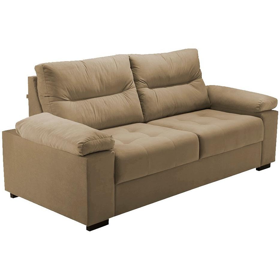 Sofa 3 Lugares Herval Braco Acolchoado Suede Marrom 200cm