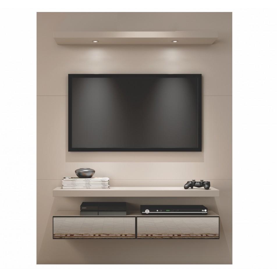 Painel para TV 55 MDF 2 Gavetas 140x180 cm Fendi Fosco - Dalla Costa