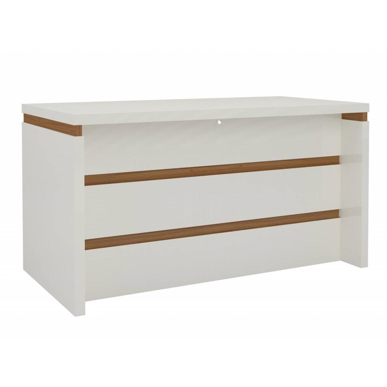 Mesa para Escritorio Dalla Costa Tamburato 68x73x135 cm - Off White