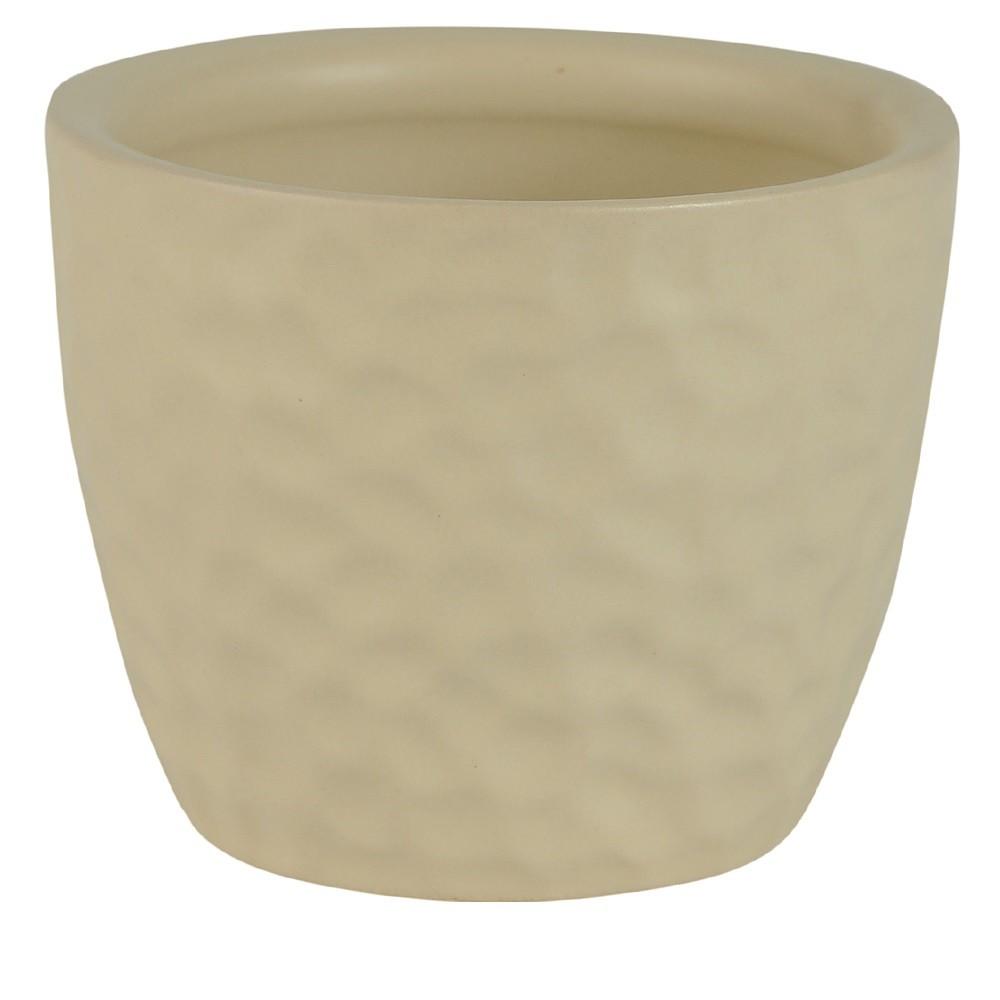 Vaso Decorativo Ceramica Redondo Bege Fosco 7 cm - Dea