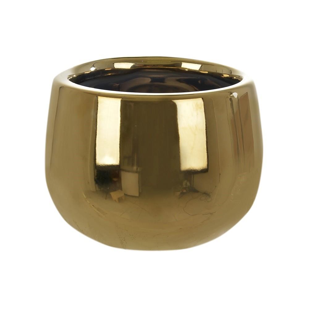 Vaso Decorativo de Ceramica Redondo 58 m Dourado- Dea