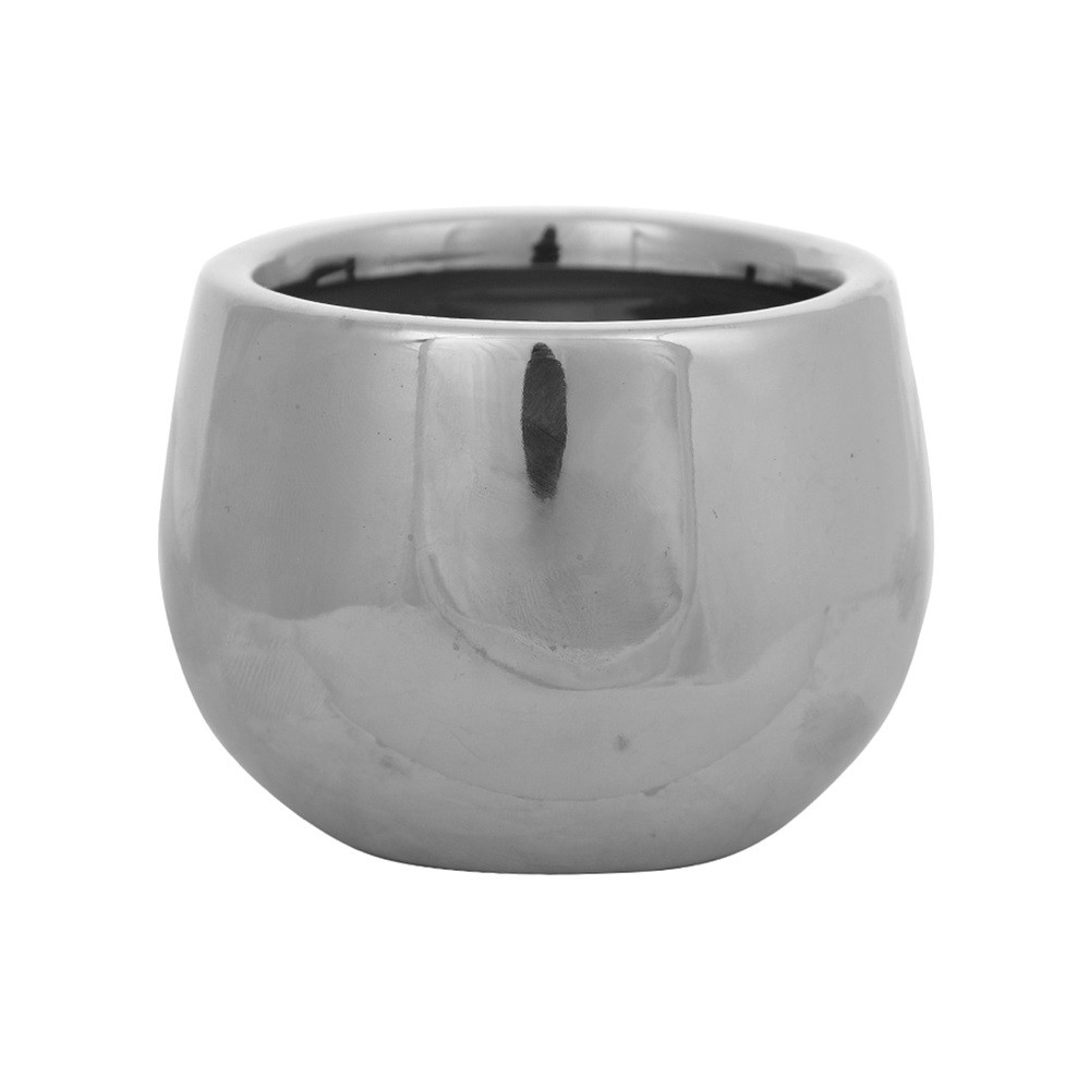Vaso Decorativo de Ceramica Redondo Prata 58 cm - Dea