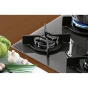 Cooktop 5 Bocas Fischer Infinity à Gás Vidro Temperado Preto - com Acendimento Superautomático