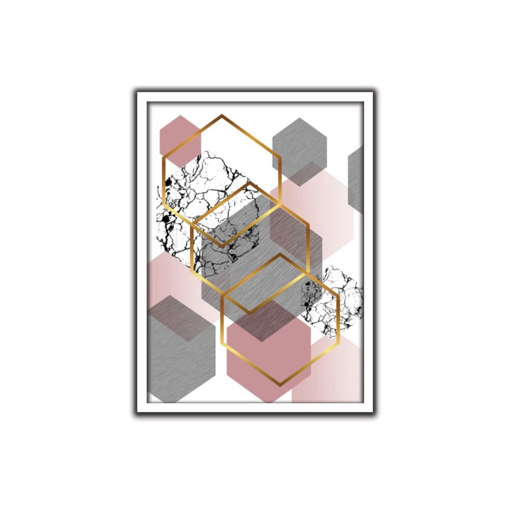 Quadro Decorativo Geometrico 50 x 70 cm Rosa - Art Frame