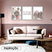 Quadro Decorativo Geométrico 50 x 70 cm Rosa - Art Frame