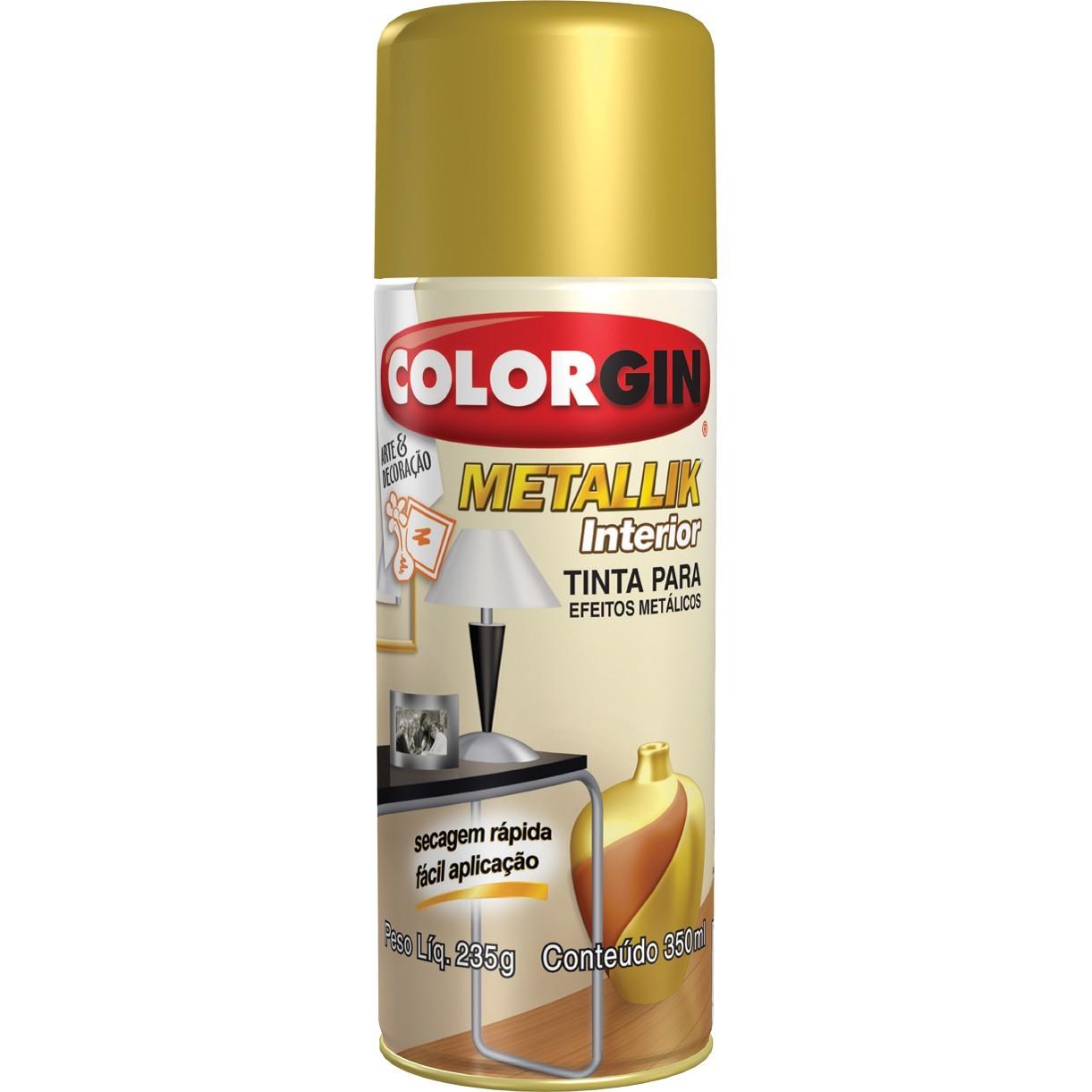 Tinta Spray Brilhante Metallik Interno - Cobre - 350ml - Colorgin