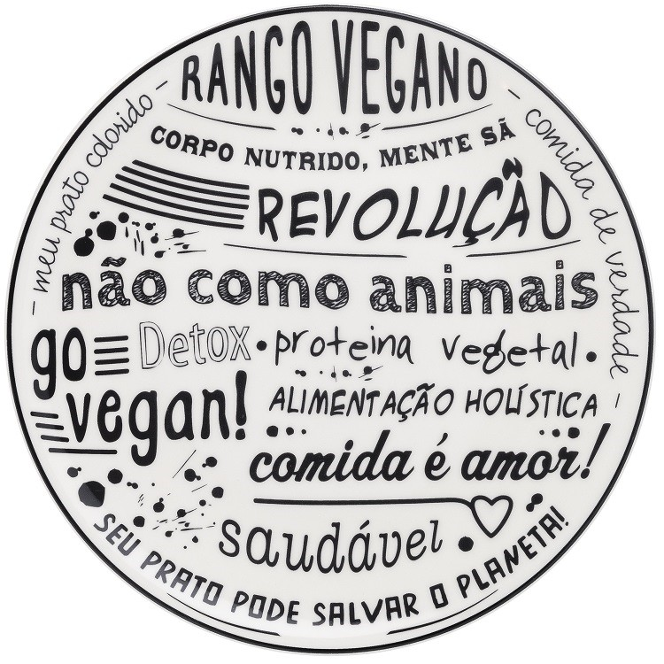 Prato Raso Redondo Vegano Ceramica 26cm - Oxford