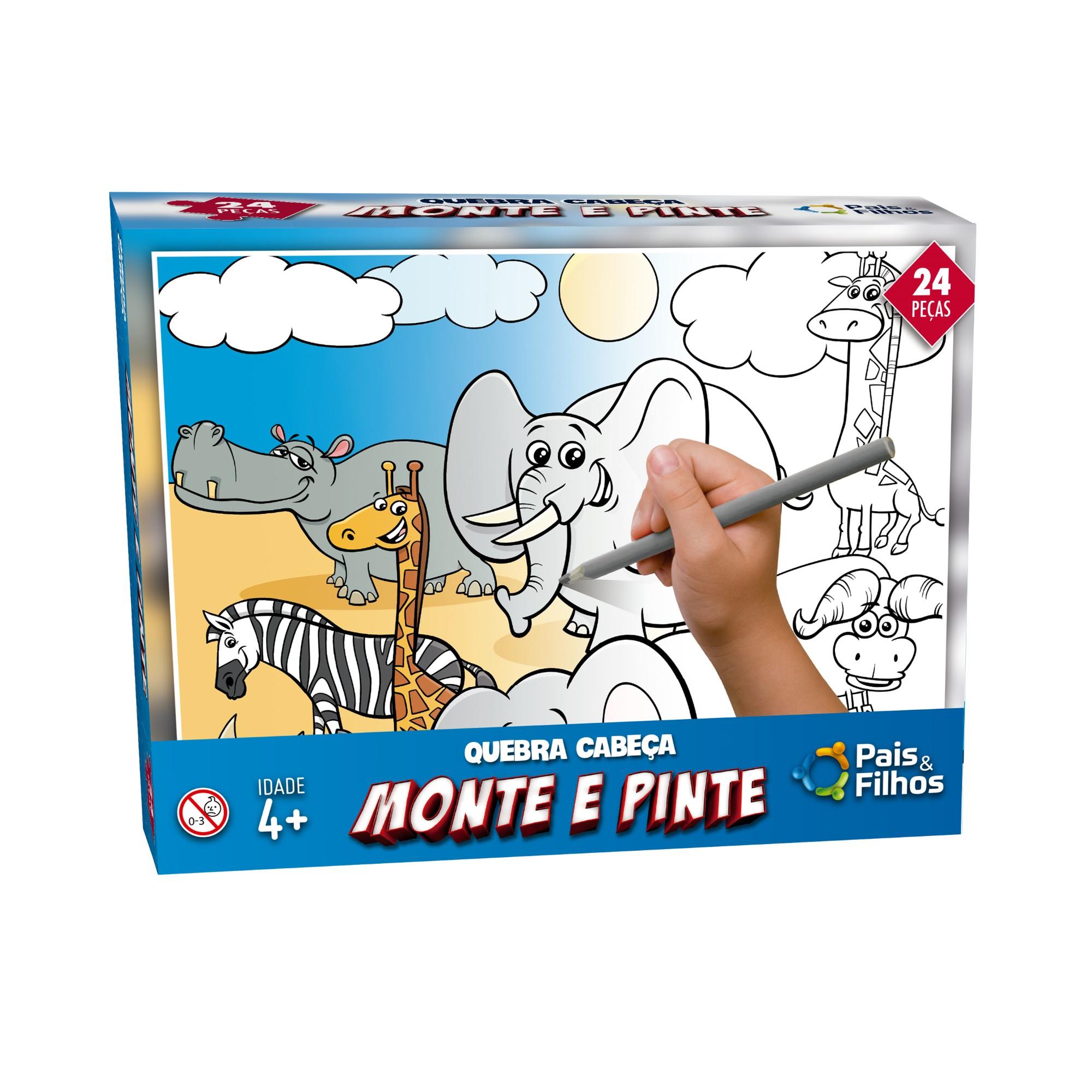 Jogo Monte e Pinte Safari 24 pecas - Pais e Filhos