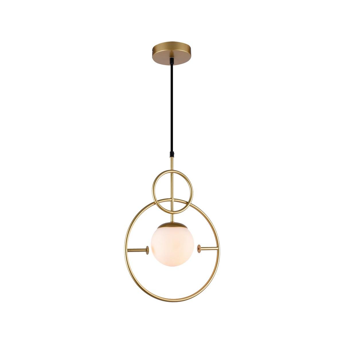 Lustre Aco e Vidro Globe Dourado 1 Lampada 1169 - Orluce