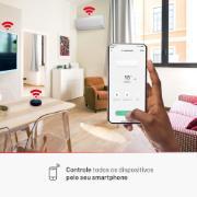 Sala ambientada ilustrando as funcionalidades do controle smart
