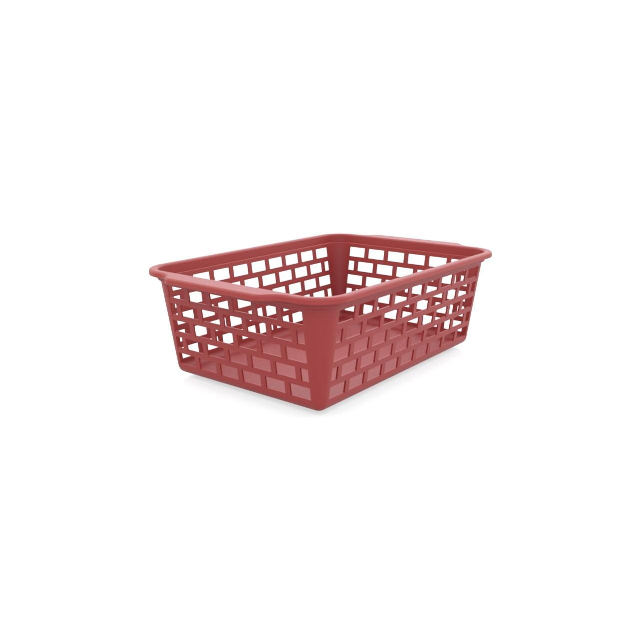 Cesta Organizadora Vazada de Plastico sem Tampa 13 x 195 cm Vermelho Utility - 1128