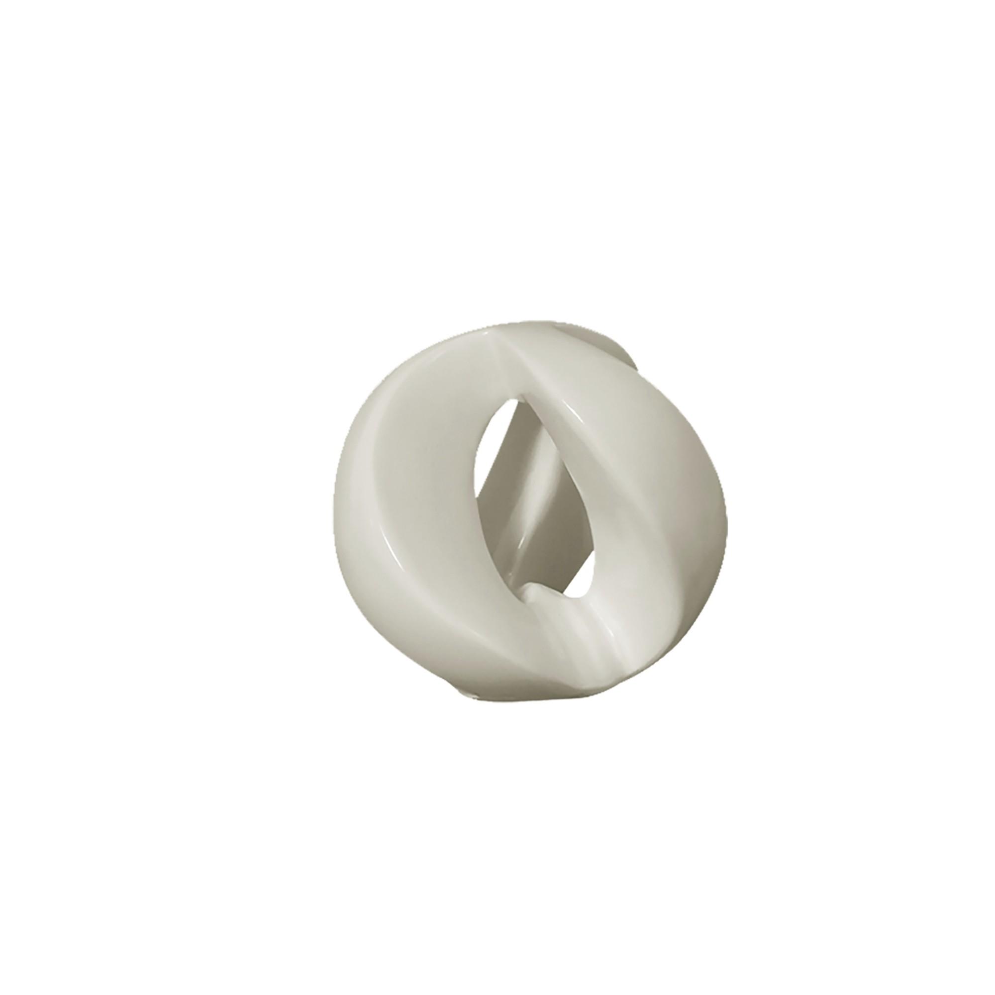 Enfeite Decorativo Escultura Esfera Vazada de Ceramica Branco - Buzzio s