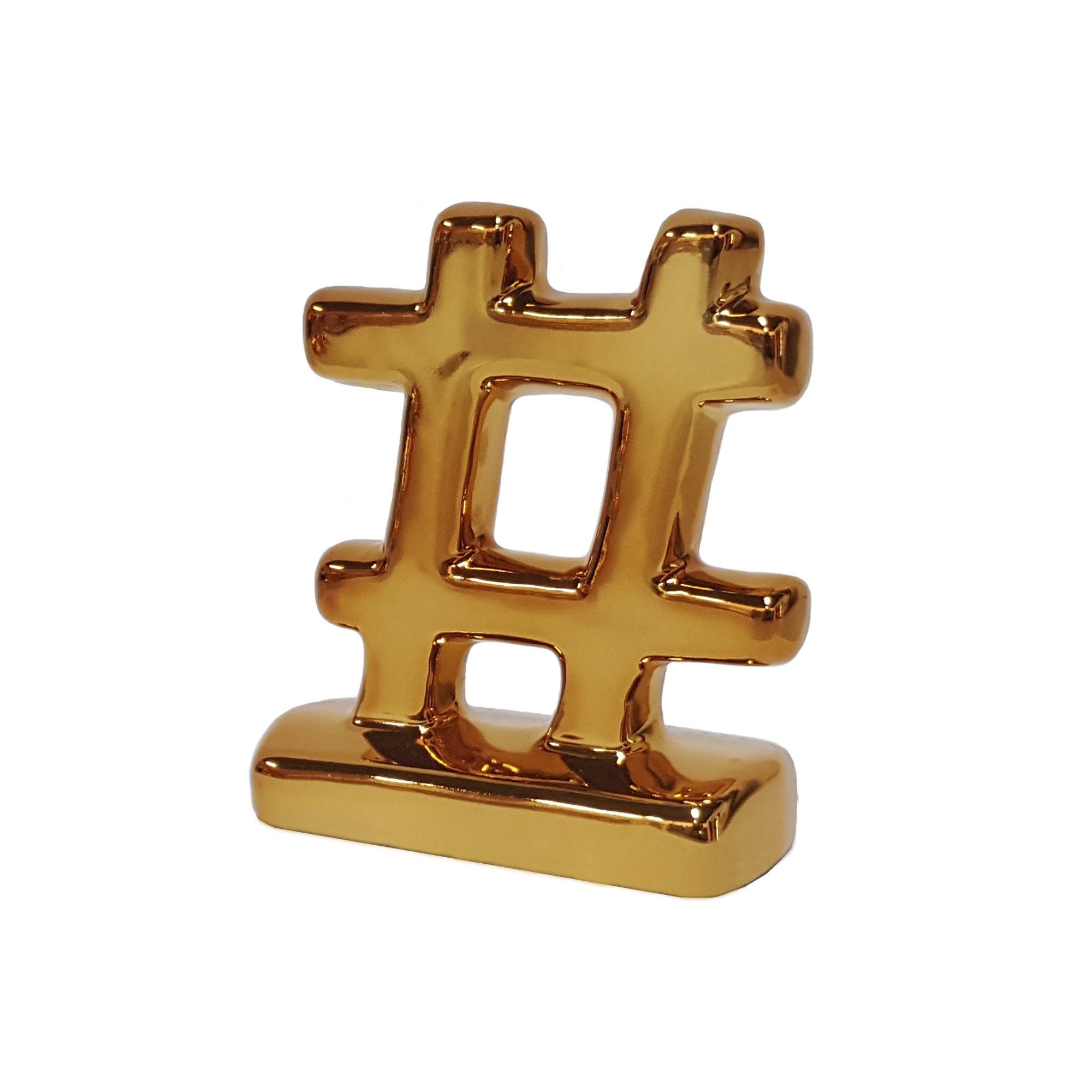 Enfeite Decorativo Mini Hashtag de Ceramica Bronze - Buzzio s
