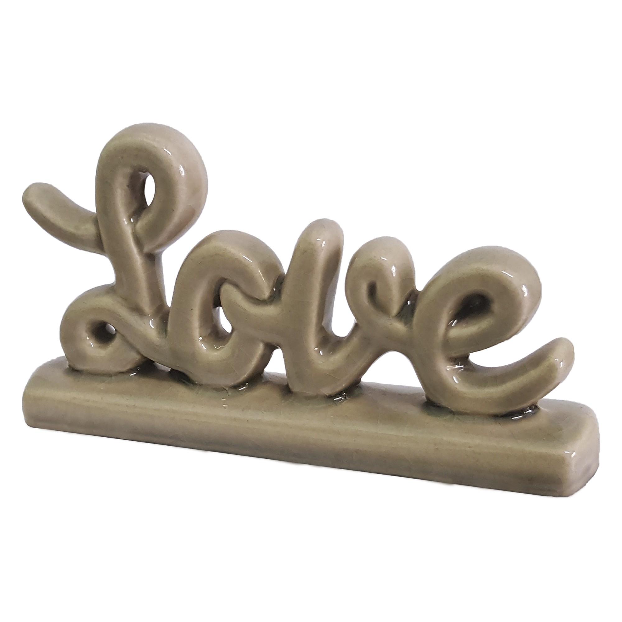Enfeite Decorativo Love de Ceramica Fendi Brilho - Buzzio s