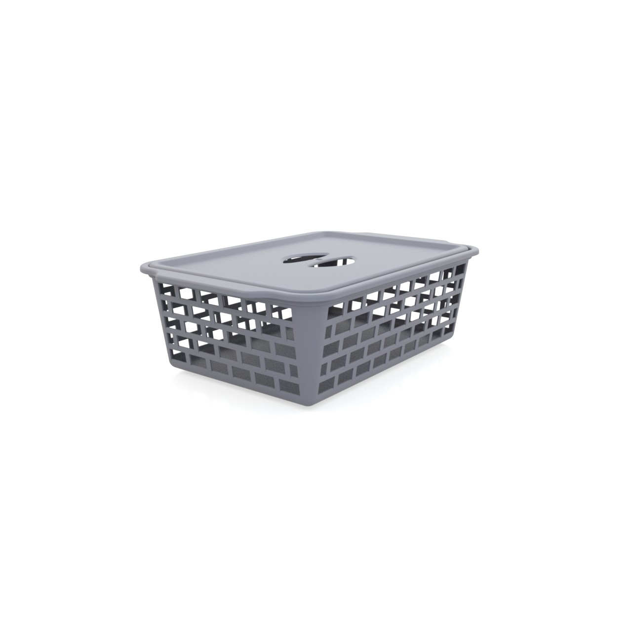 Cesta Organizadora Vazada de Plastico com Tampa 195 x 295 cm Cinza Utility - 1102