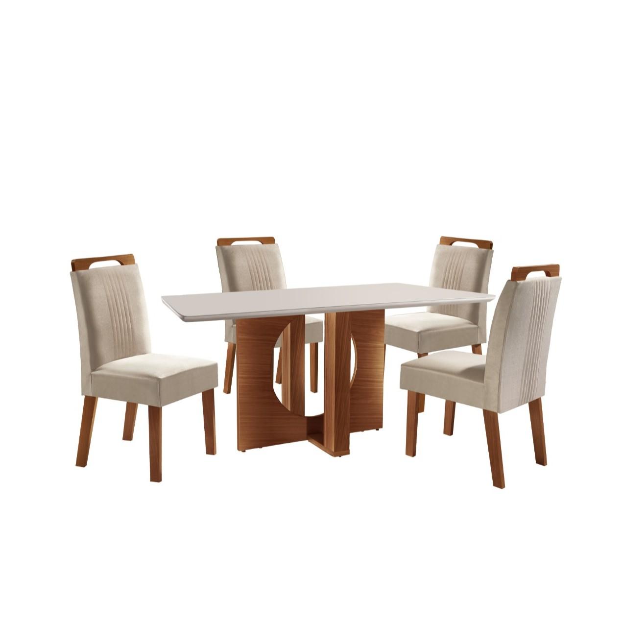 Conjunto de Mesa Firenze com 4 Cadeiras Estofadas Vidro Temperado - LJ Moveis