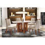 Conjunto de Mesa Firenze com 4 Cadeiras Estofadas Vidro Temperado - LJ Móveis