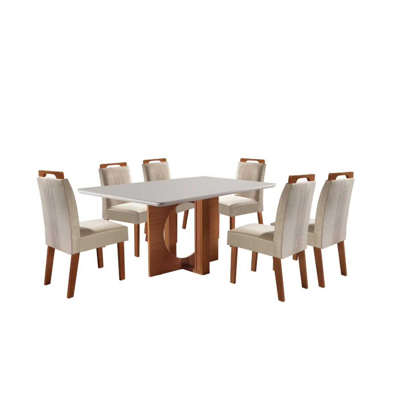 Conjunto de Mesa Firenze MDF com 6 Cadeiras Estofadas Vidro Temperado - LJ Moveis