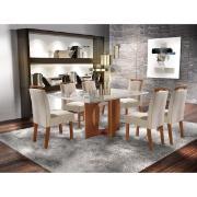 Conjunto de Mesa Firenze MDF com 6 Cadeiras Estofadas Vidro Temperado - LJ Móveis
