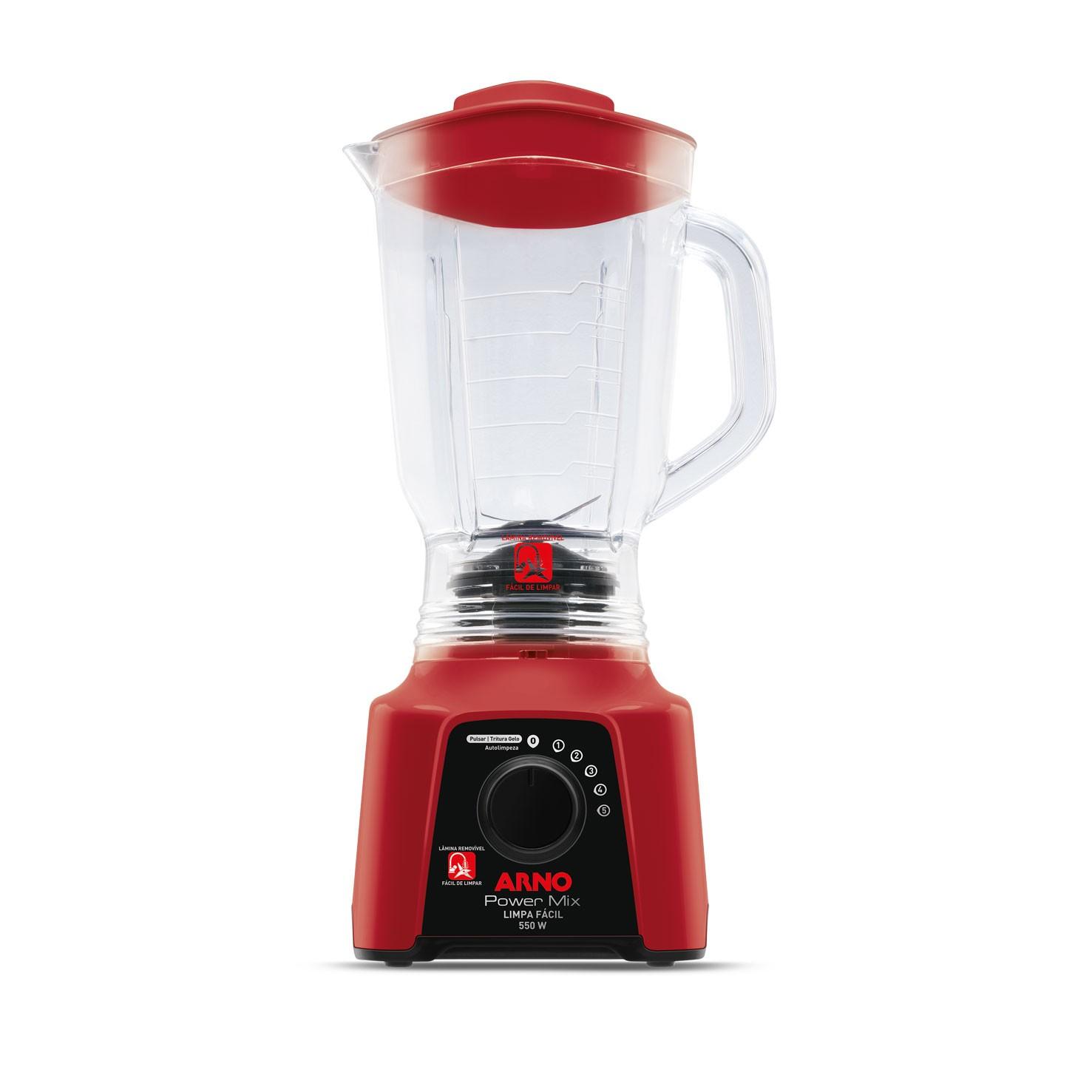 Liquidificador Arno Power Mix Limpa Facil 550w 5 Velocidades 220V Vermelho - LN2865B2
