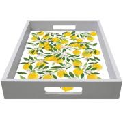 Bandeja Madeira e Vidro Retangular 32x22cm Lemon Flowers Branca - Kapos
