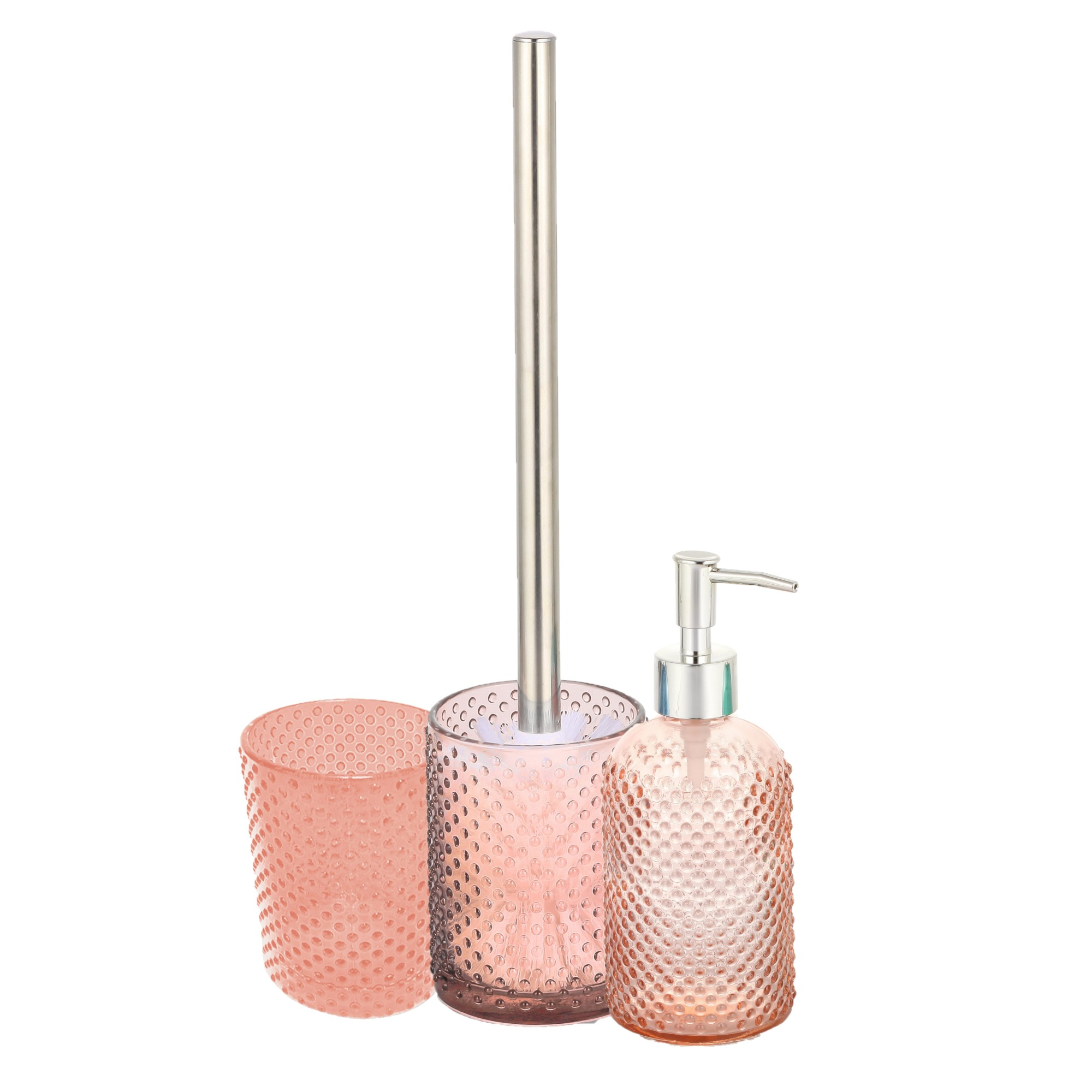 Jogo para Banheiro em Vidro com Escova Sanitaria 3 Pecas Salmao - Casa Ambiente
