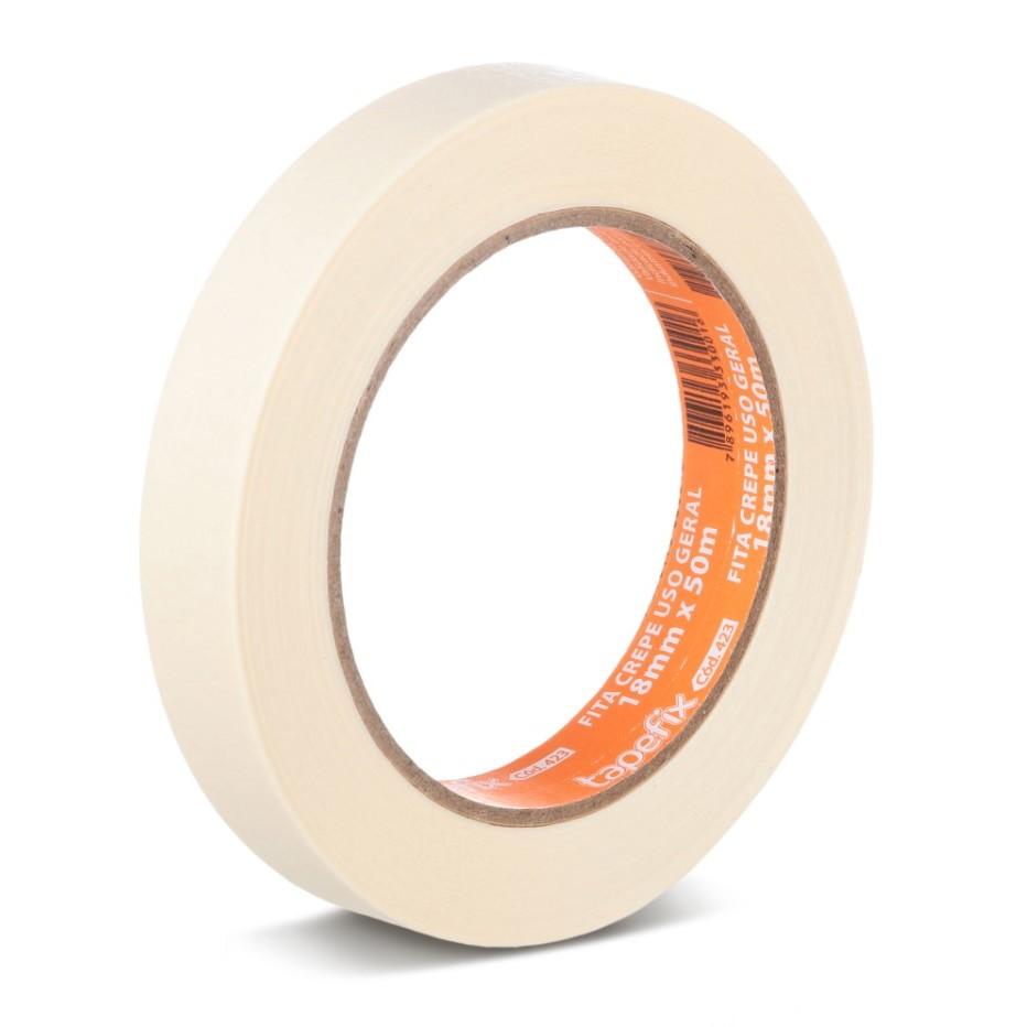 Fita Adesiva Crepe 18mm x 50M Branco - Adere
