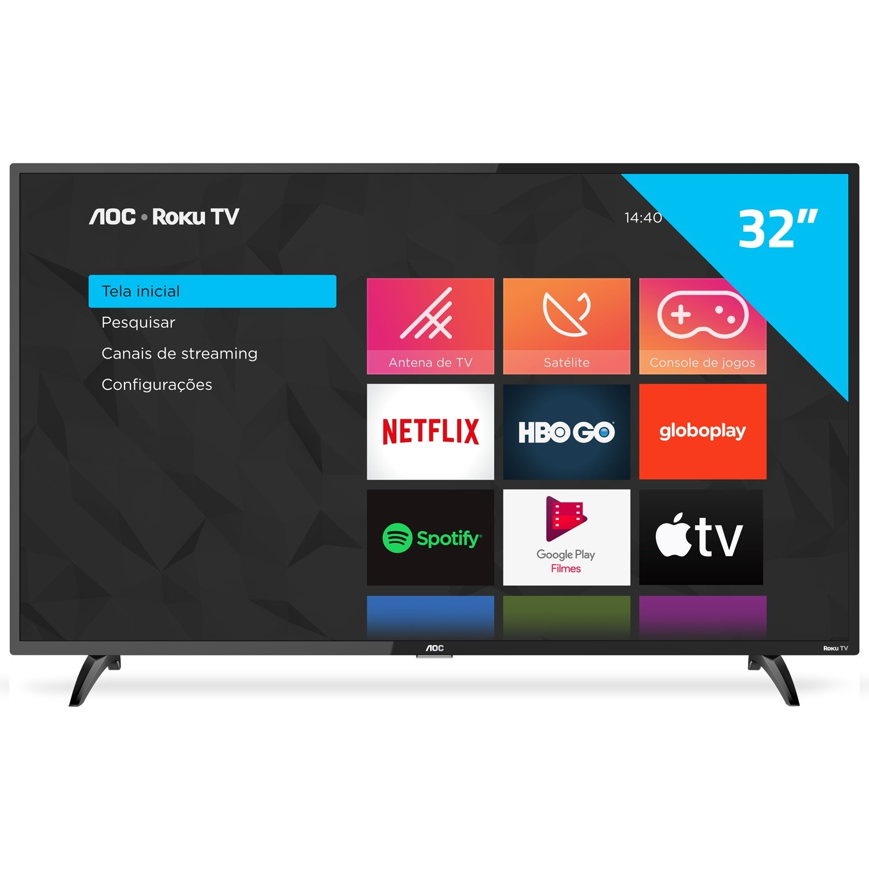 Smart TV LED 32 AOC Roku HD 32S519578G Dolby Digital - Wi-Fi 3 HDMI 1 USB