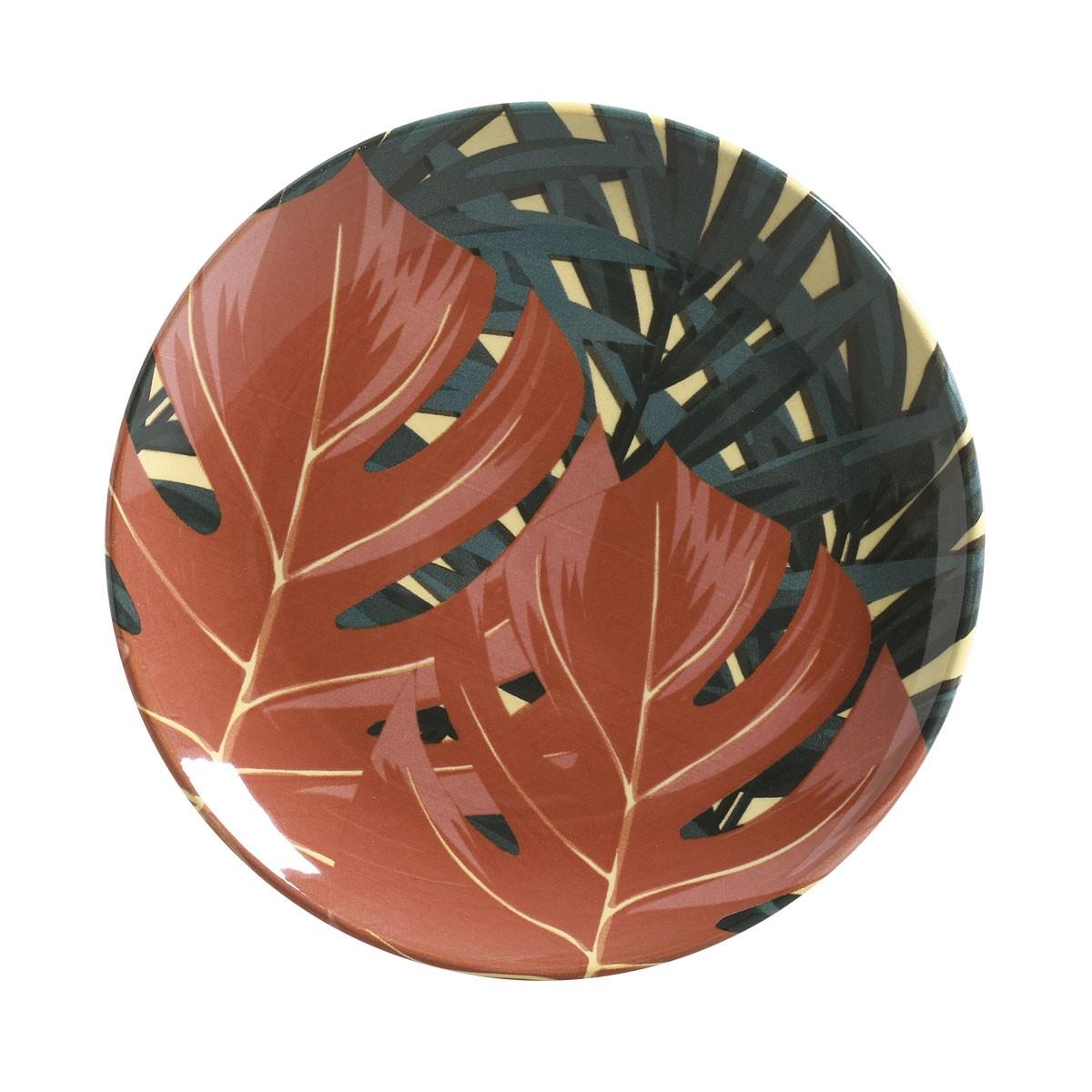 Prato de Sobremesa Sumatra Redondo em Ceramica Marrom - Porto Brasil