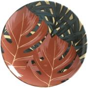 Prato de Sobremesa Sumatra Redondo em Cerâmica Marrom - Porto Brasil