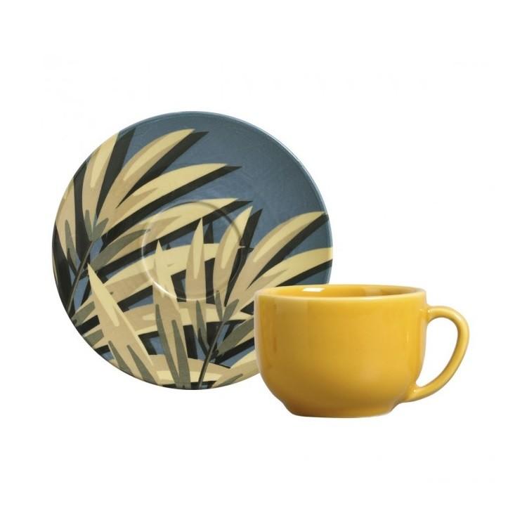Xicara de Cha Sumatra de Ceramica com Pires 260ml Amarela - Porto Brasil