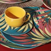 Xícara de Chá Sumatra de Cerâmica com Pires 260ml Amarela - Porto Brasil