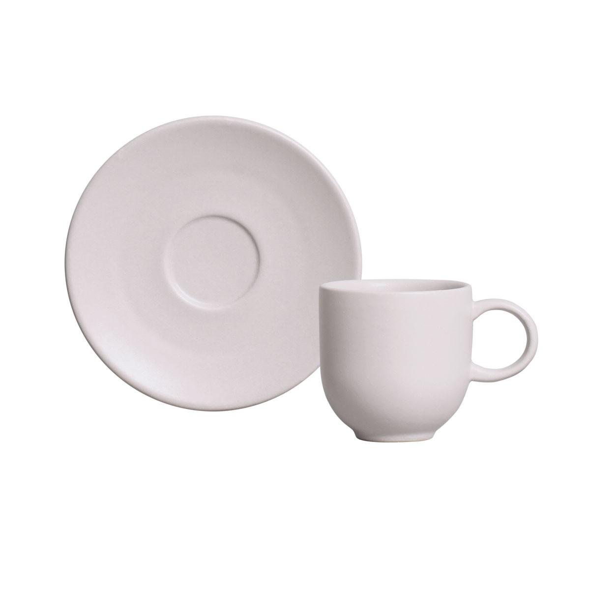 Xicara de Cafe Haya de Ceramica com Pires 97ml Off-white - Porto Brasil