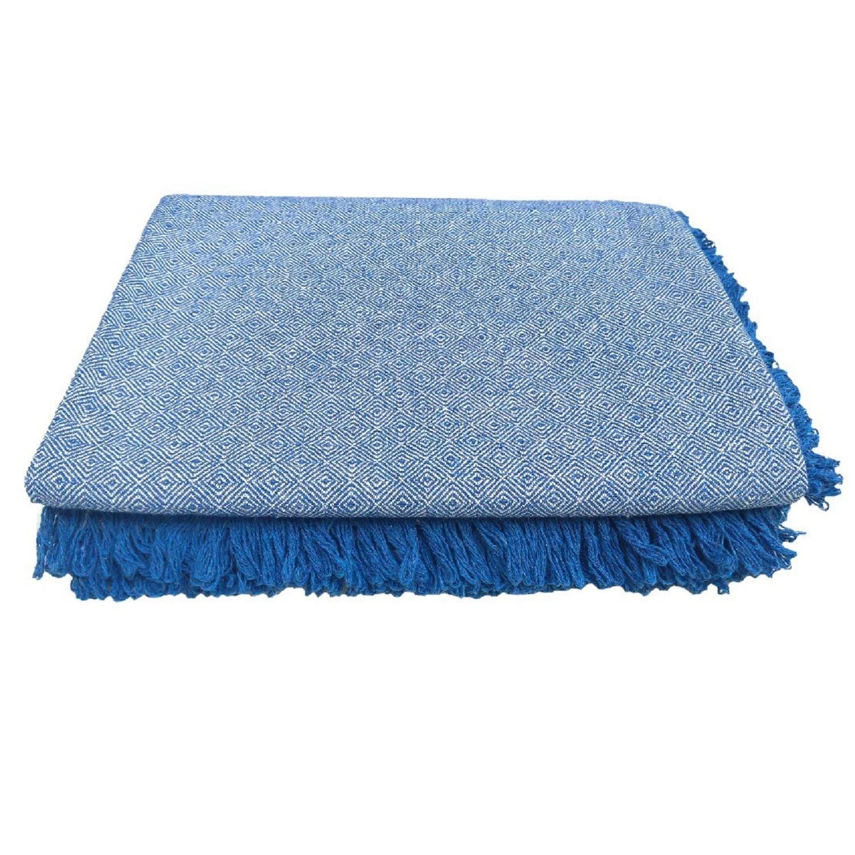 Manta de Sofa Diamante 150 x 120 cm Azul Marinho - Arte Primitiva